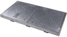 1500 x 750 x 100mm FACTA AAA Galvanised Steel Flush Manhole Cover - Badged MOD Pheon