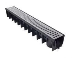 Domestic Linear Drainage 1m Lengths Polypropylene Channel & Galvanised Slotted Grating